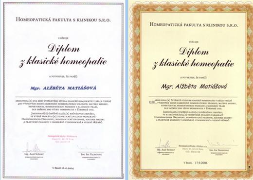 Alžběta Matiášová_homeopatika_certifikáty