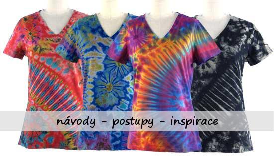 trička - výsledek správného postupu batikování