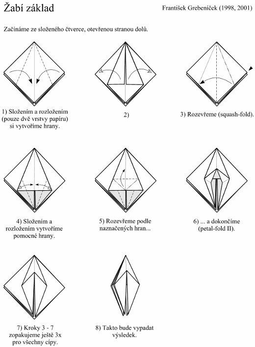 ukázka skládání origami žabího základu