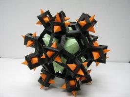 černo-oranžová hvězdice z papíru