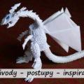 bílý 3d origami drak