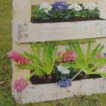 květiny zasazené v zahradním truhlíku z palet