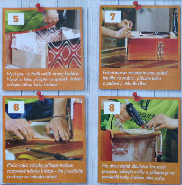 kroky 5-8 na výrobu vlastní papírové krabice