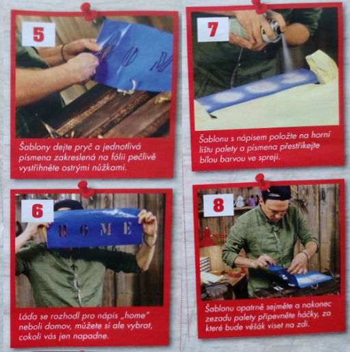 závěrečné čtyři kroky při výrobě věšáku z palety