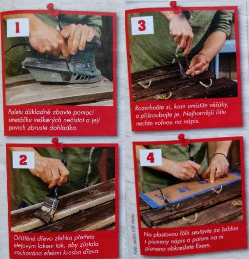 první čtyři kroky při výrobě věšáku z palet