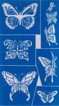 motýlci - šablona leptání skla