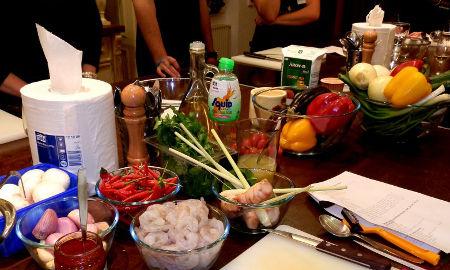 ingredience během kurzu vaření