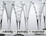 šampusky ozdobené leptáním na sklo
