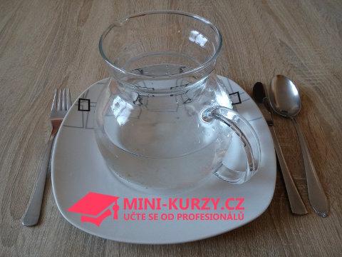 držíme půst - prázdný talíř pouze se džbánem s čistou vodou