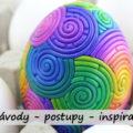 velikonoční vajíčko ozdobené různými tvary FIMO hmoty