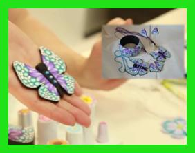motýl, prsten a náušnice z fimo hmoty