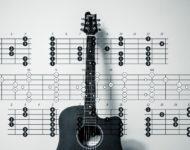 fotografie kytary opřené o zeď na které je potisk not a akordů na kytaru.