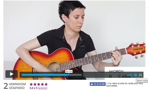 Fotografie kytaristky sedící a hrající na kytaru