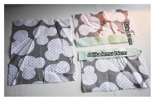 Fotografie lemů a rozměrů na šití zásobníku na kapesníky