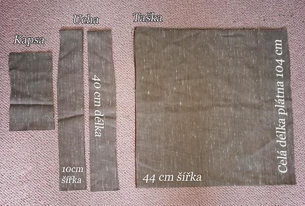 Fotografie látky a rozměrů tašky
