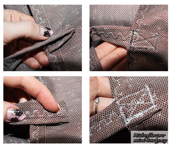 Koláž fotografií návodu, jak ušít plátěnou nákupní tašku s kapsou.