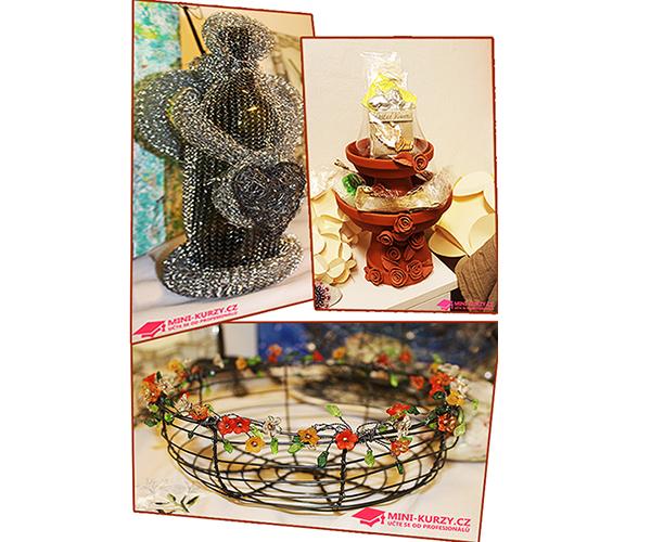 Fotografie Anděl, vánoční dekorace a drátovaná mísa s korálky