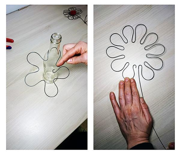 Fotografie výroby květiny z drátu