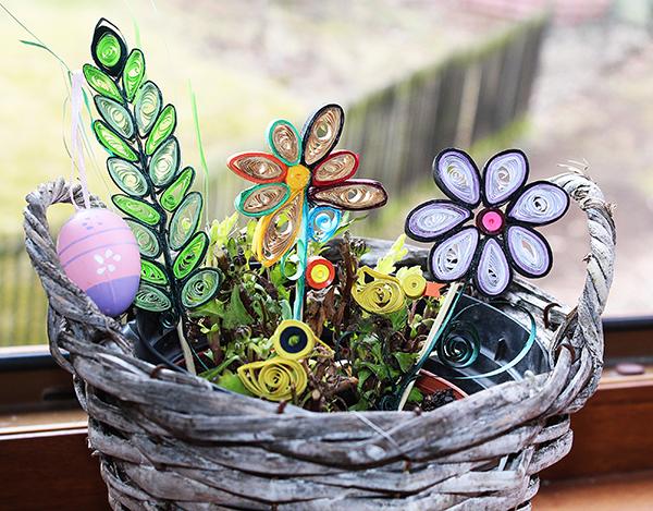 Fotografie velikonoční dekorace v květináči