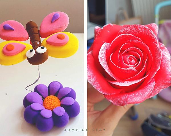 Fotografie motýla a růže vymodelované z modelovací hmoty jumping clay