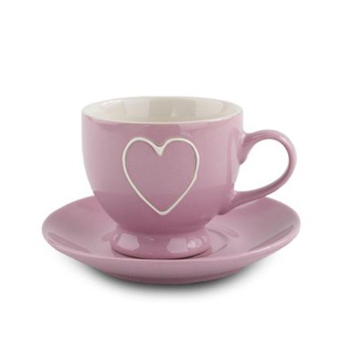 Fotografie:keramíciký šálek s podšákem srdce