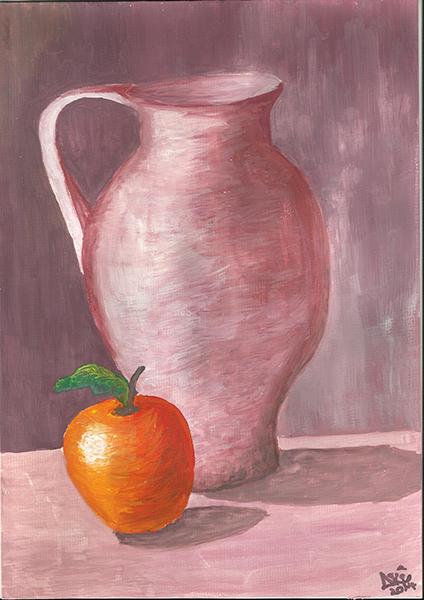 Fotografie: malování obrazů ústy - džbánek a jablko