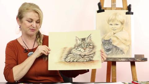 lektorka kreslení ukazuje nakreslené obrázky kočky s dítětem