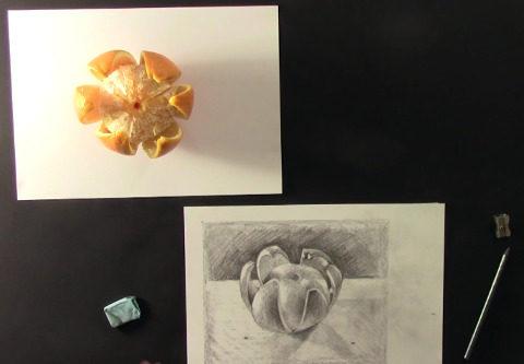 na stole leží oloupaný pomeranč a vedle něj je nakreslený pomeranč pomocí techniky kreslení pravou mozkovou hemisférou