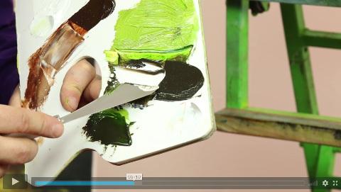 malíř míchá olejové barvy v online video kurzu olejomalby technikou Bob Ross