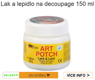 balení lepidla a laku art potch na decoupage