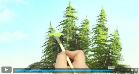 malíř maluje stromy olejem na plátno v online video kurzu olejomalby technikou Bob ross