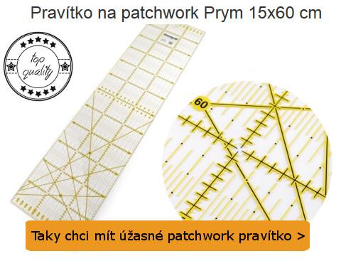 detailní pohled na patchwork pravítko