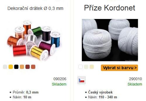 bílá Kordonet příze české výroby