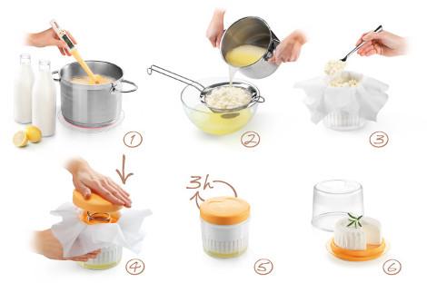jednoduchý obrázkový návod a postup na výrobu domácího sýru