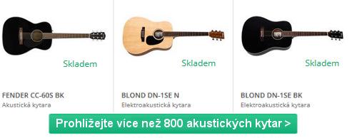 různé barvy a značky akustických kytar na výběr