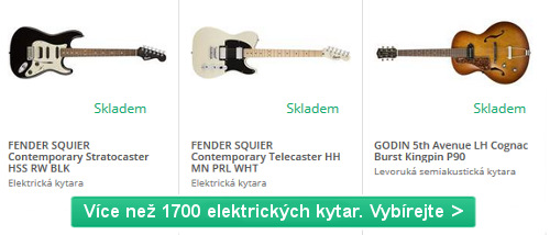 různé barvy a značky elektrických kytar na výběr