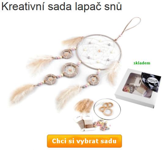 hnědo bílý lapač snů včetně komponentů v sadě pro výrobu