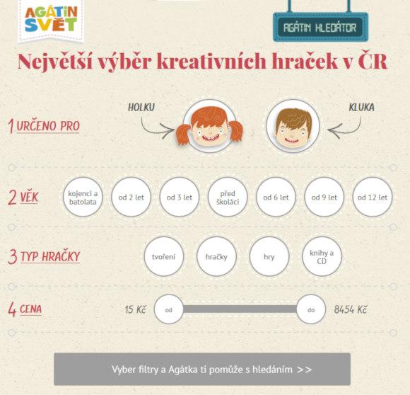 uživatelsky přívětivý filtr pro výběr tvořivých hraček pro děti v eshopu Agátin svět