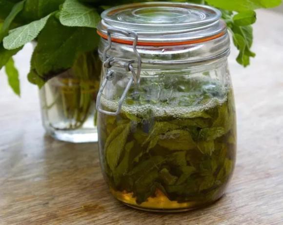 V uzaviratelné sklenici je nalitý domácí šalvějový sirup