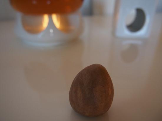 očištěná pecka z avokáda leží na stole - přípravy na její zasazení