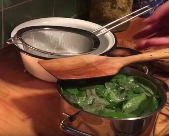 v hrnci se vaří listy šalvěje na výrobu domácího sirupu