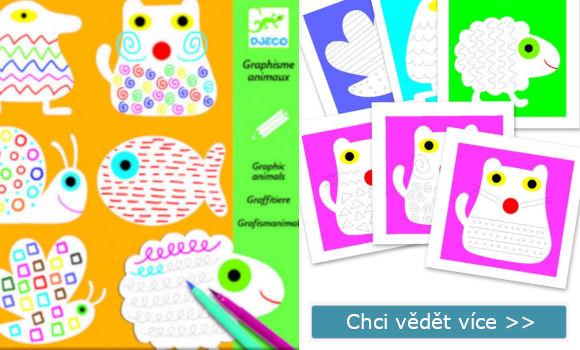 rybičky, kočičky, ovečky a jiná zvířátka v grafomotorické hře pro děti