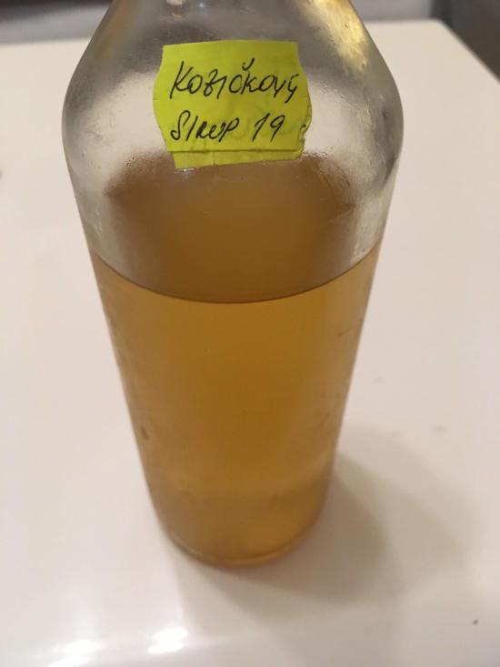 skleněná láhev do půlky naplněná doma vyrobeným bezinkovým sirupem