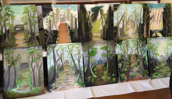 deset olejomaleb na plátně metodou Bob Ross - od účastníků kurzu