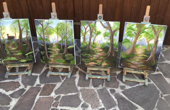 čtyři výsledné olejomalby na plátně po absolvování kurzu