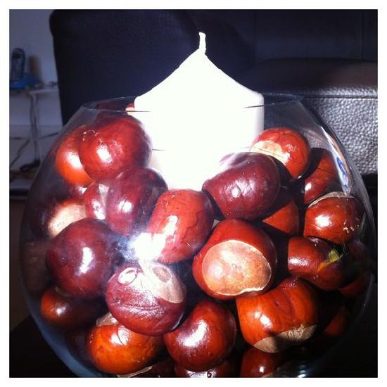 sklěněná kulatá nádoba naplněná kaštany - uvnitř stojí bílá svíčka a dotváří tak svícen z kaštanů