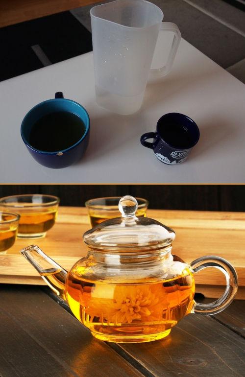 porovnání dvou stylů servírování domácích bylinkových čajů