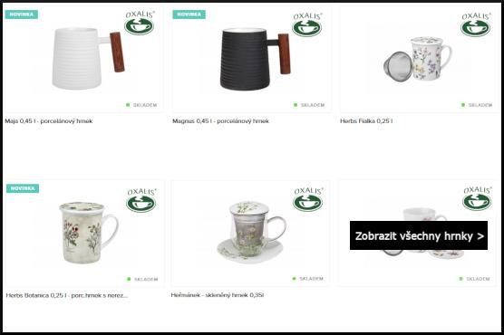 ukázka různých hrníčků Oxalis na bylinkové čaje