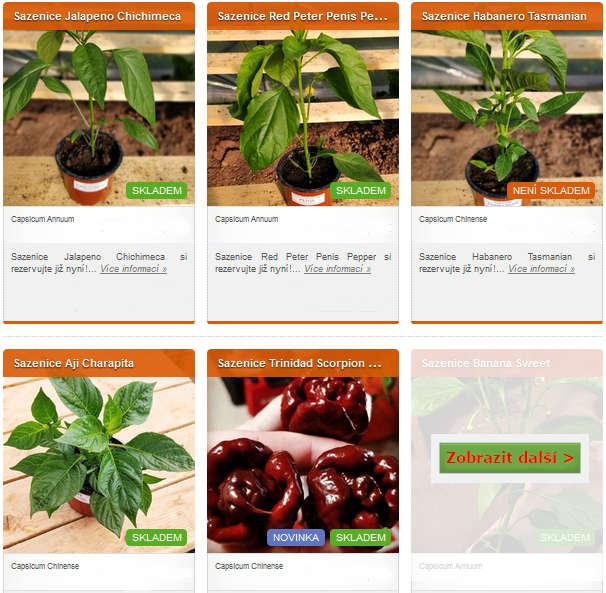 obrázky různých druhů chilli sazenic v eshopu