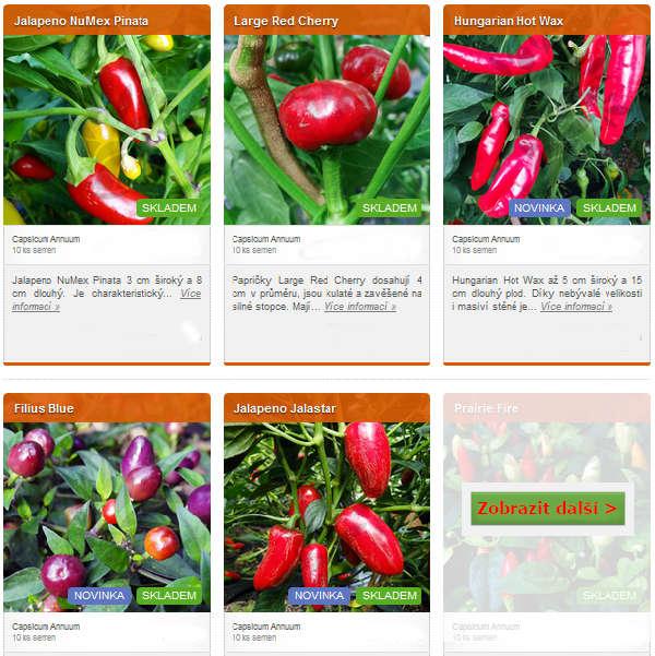 obrázky různých druhů chilli semínek v eshopu